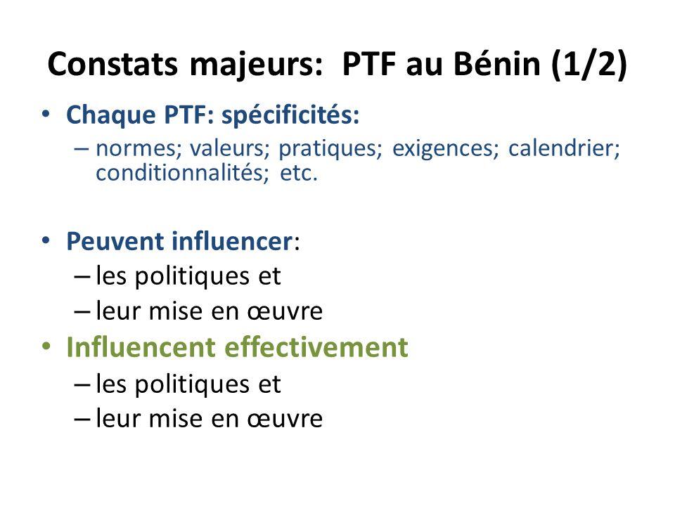Constats majeurs: PTF au Bénin (1/2) Chaque PTF: spécificités: – normes; valeurs; pratiques; exigences; calendrier; conditionnalités; etc.