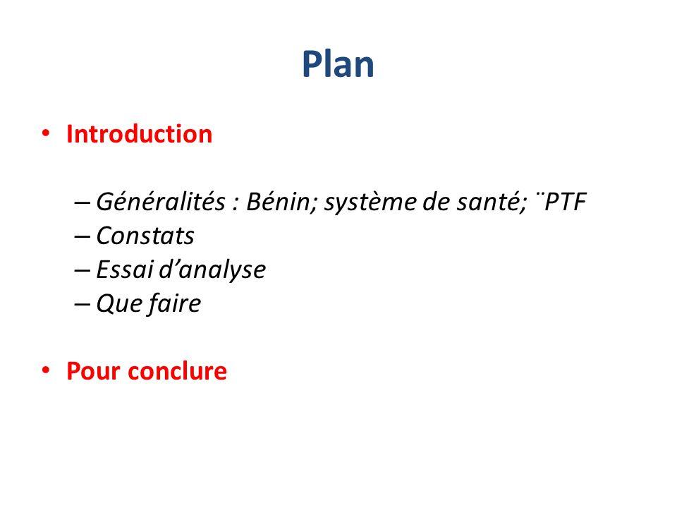 Plan Introduction – Généralités : Bénin; système de santé; ¨PTF – Constats – Essai danalyse – Que faire Pour conclure