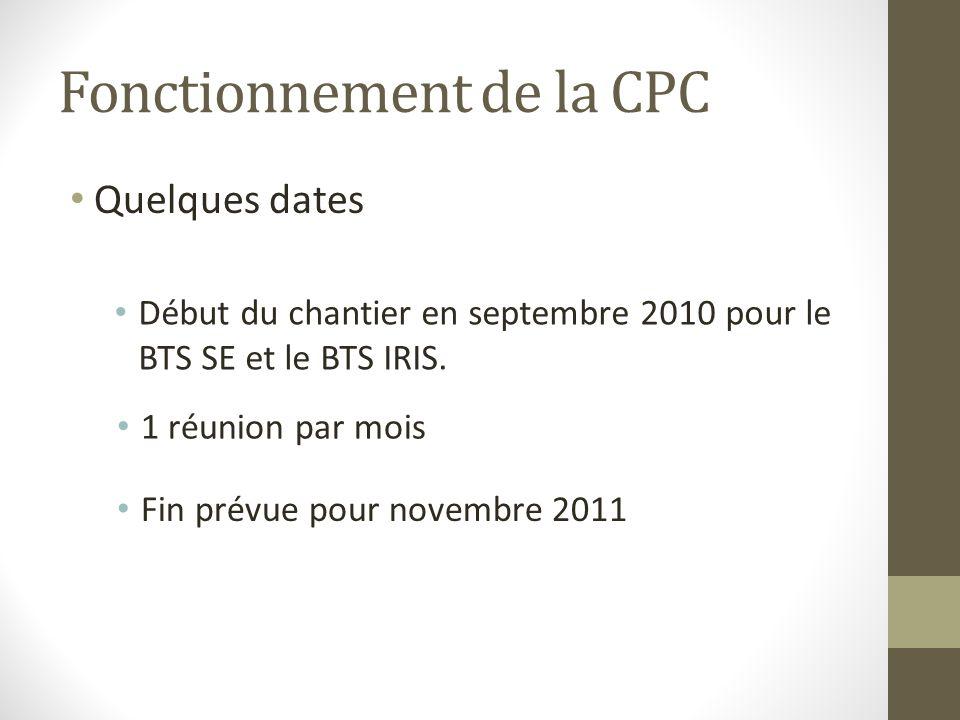 Fonctionnement de la CPC Quelques dates Début du chantier en septembre 2010 pour le BTS SE et le BTS IRIS. 1 réunion par mois Fin prévue pour novembre
