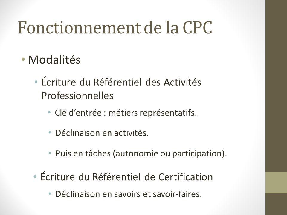 Fonctionnement de la CPC Modalités Écriture du Référentiel des Activités Professionnelles Clé dentrée : métiers représentatifs. Déclinaison en activit