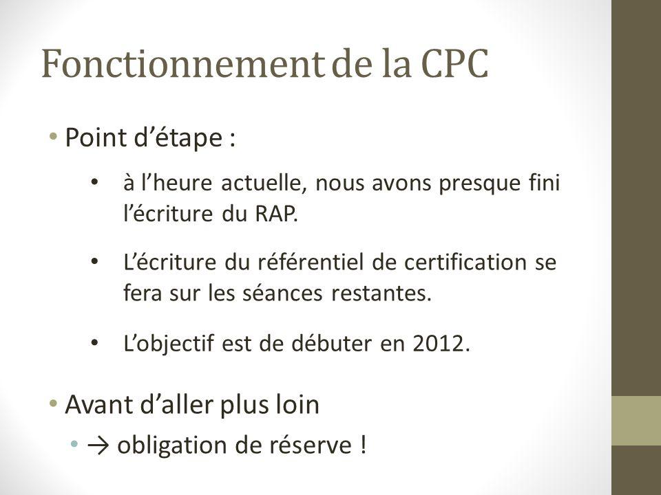 Fonctionnement de la CPC Point détape : Avant daller plus loin obligation de réserve ! à lheure actuelle, nous avons presque fini lécriture du RAP. Lo