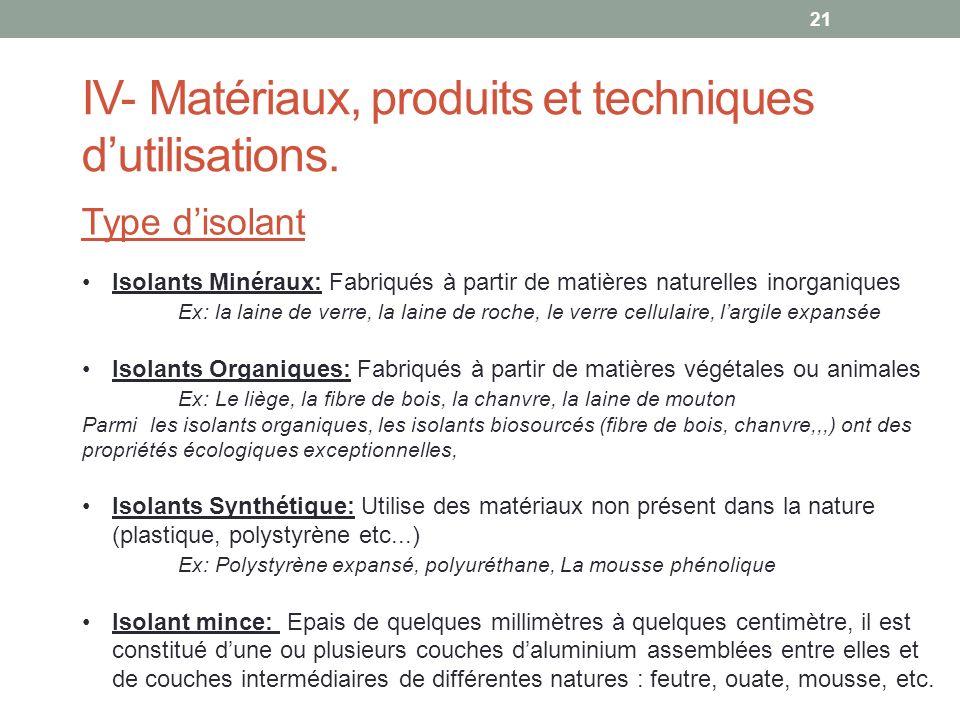 IV- Matériaux, produits et techniques dutilisations. Type disolant Isolants Minéraux: Fabriqués à partir de matières naturelles inorganiques Ex: la la