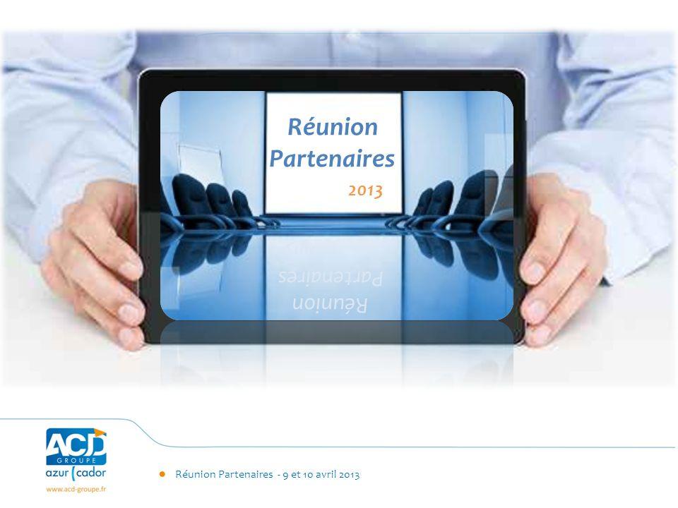 Réunion Partenaires - 9 et 10 avril 2013 Plan Marketing Zoom sur le Web Evènements Supports Actions de com Budget global Plan Marketing SITE WEB
