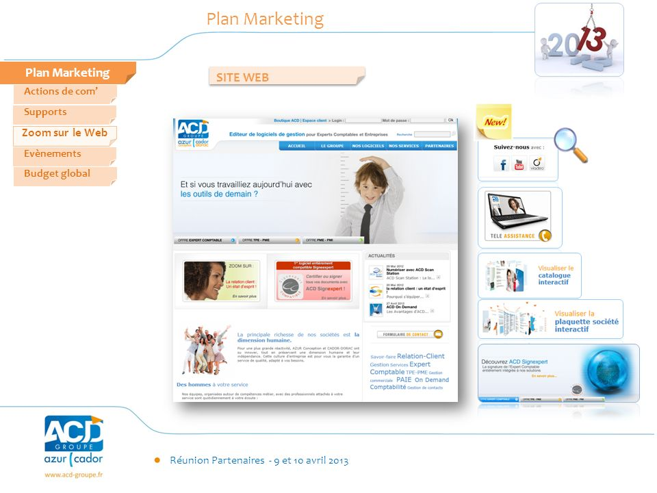 Réunion Partenaires - 9 et 10 avril 2013 Plan Marketing Zoom sur le Web Evènements Supports Actions de com Budget global Plan Marketing SITE WEB