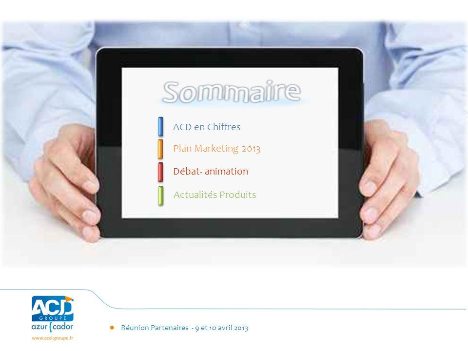Réunion Partenaires - 9 et 10 avril 2013 ACD en Chiffres Plan Marketing 2013 Actualités Produits Débat- animation