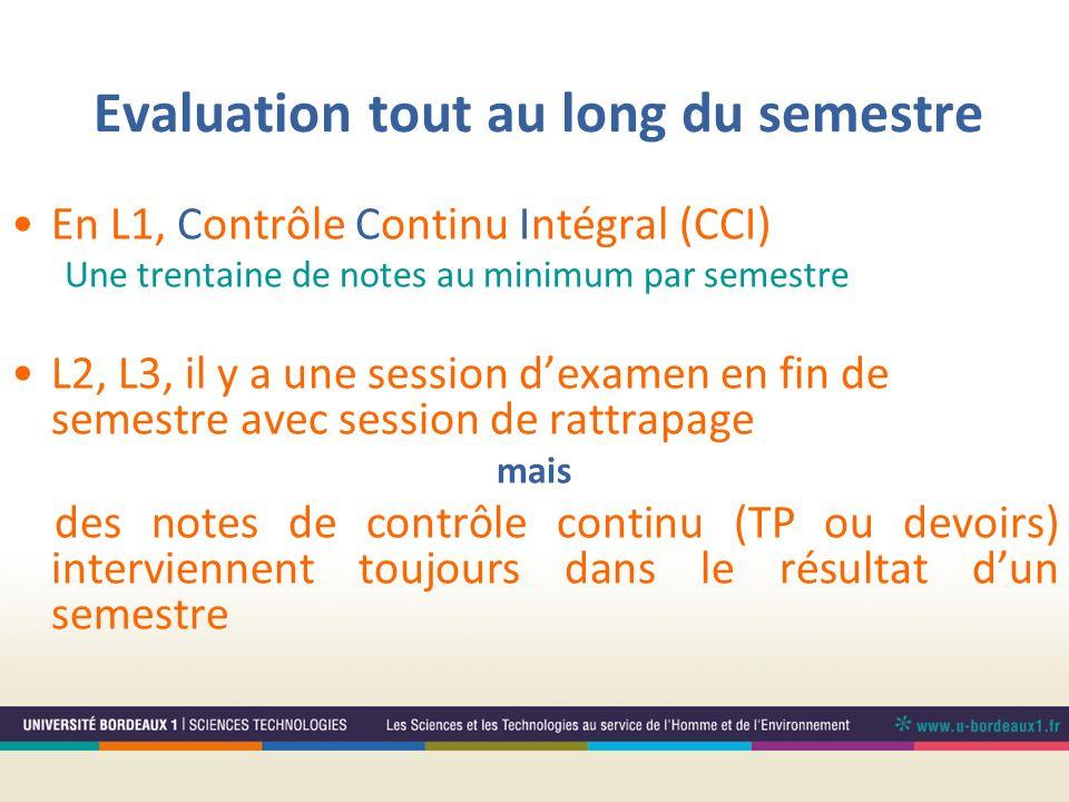 Evaluation tout au long du semestre En L1, Contrôle Continu Intégral (CCI) Une trentaine de notes au minimum par semestre L2, L3, il y a une session d