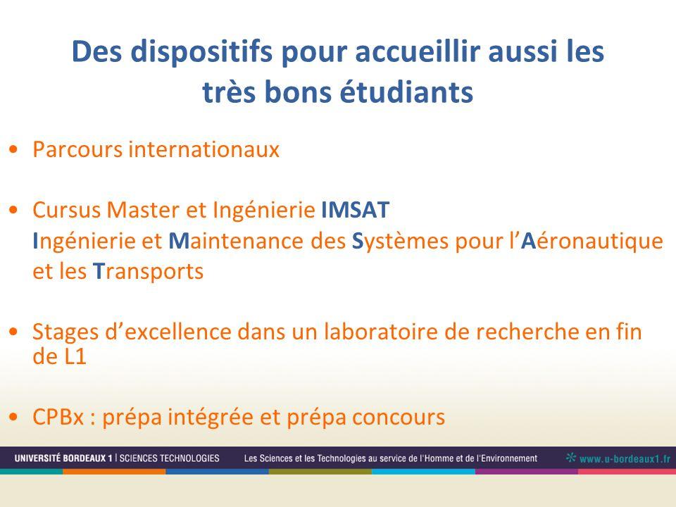 Des dispositifs pour accueillir aussi les très bons étudiants Parcours internationaux Cursus Master et Ingénierie IMSAT Ingénierie et Maintenance des