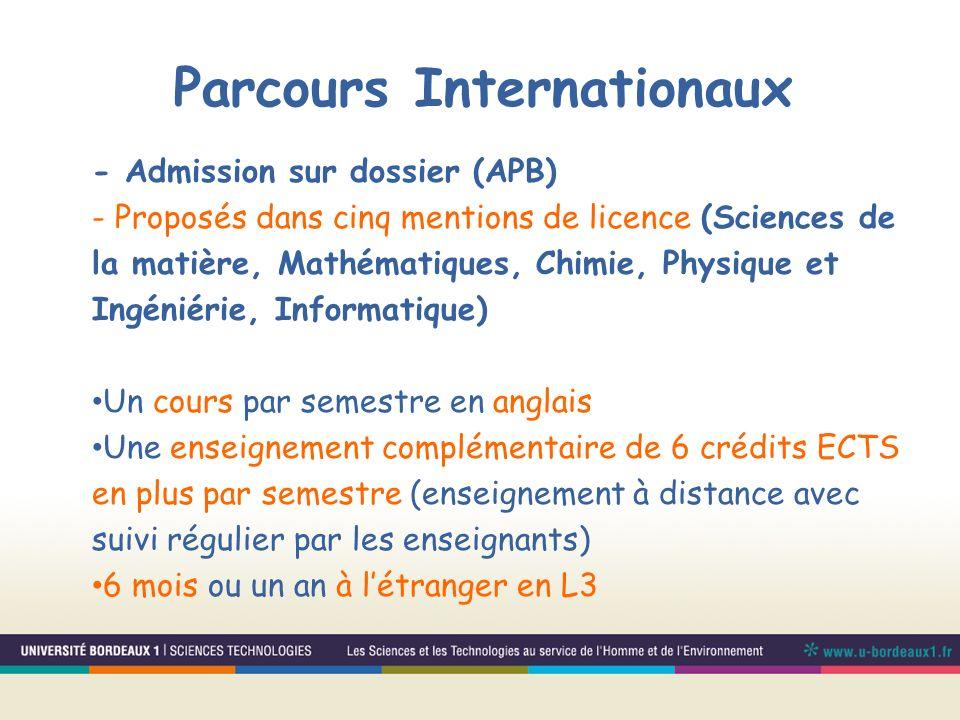 - Admission sur dossier (APB) - Proposés dans cinq mentions de licence (Sciences de la matière, Mathématiques, Chimie, Physique et Ingéniérie, Informa