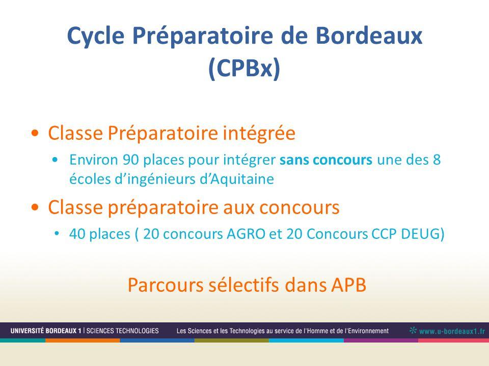 Cycle Préparatoire de Bordeaux (CPBx) Classe Préparatoire intégrée Environ 90 places pour intégrer sans concours une des 8 écoles dingénieurs dAquitai