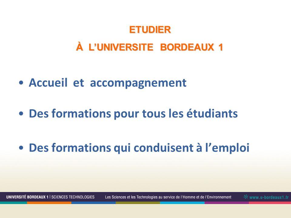 Accueil et accompagnement Des formations pour tous les étudiants Des formations qui conduisent à lemploi ETUDIER À LUNIVERSITE BORDEAUX 1