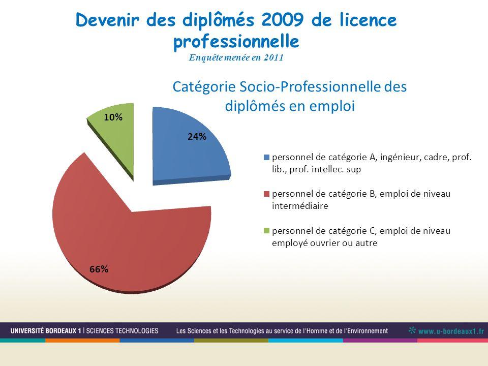 Devenir des diplômés 2009 de licence professionnelle Enquête menée en 2011 Catégorie Socio-Professionnelle des diplômés en emploi