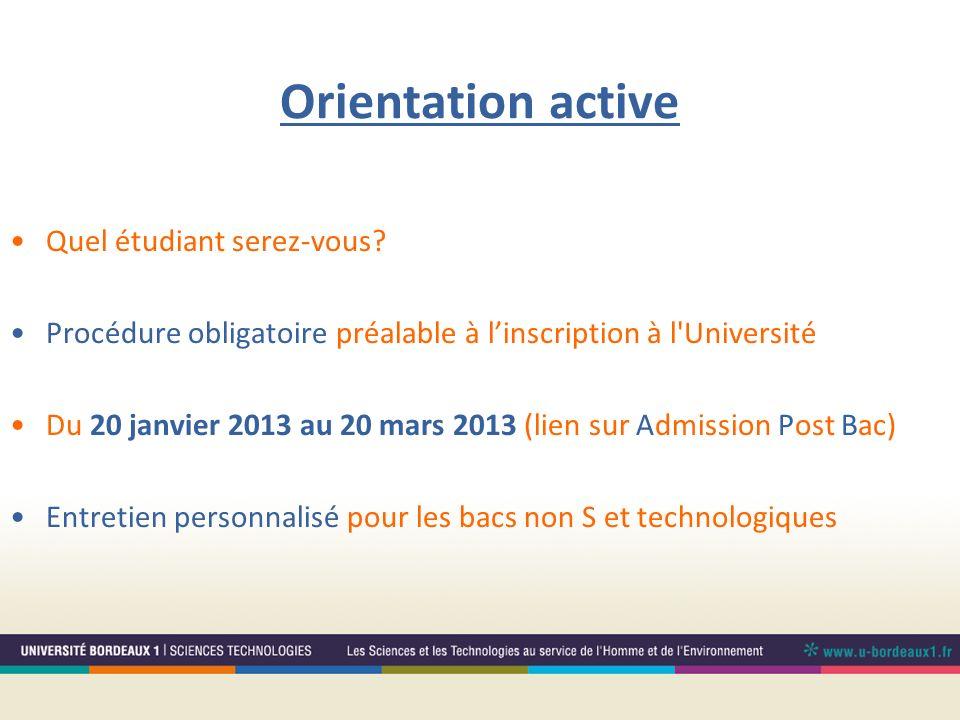 Orientation active Quel étudiant serez-vous? Procédure obligatoire préalable à linscription à l'Université Du 20 janvier 2013 au 20 mars 2013 (lien su