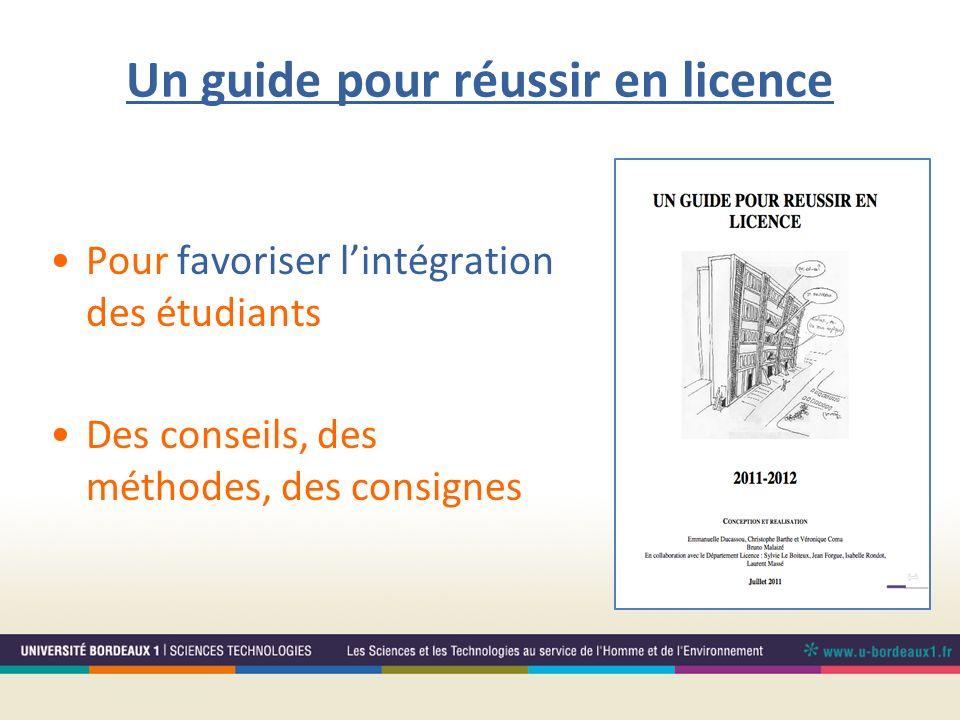 Un guide pour réussir en licence Pour favoriser lintégration des étudiants Des conseils, des méthodes, des consignes