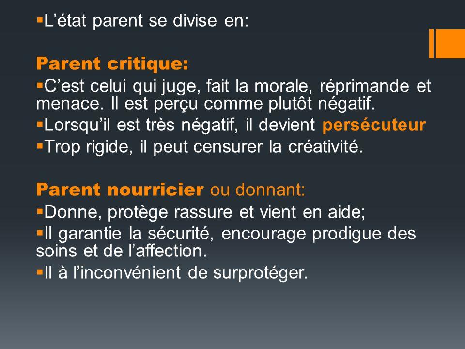 Létat parent se divise en: Parent critique: Cest celui qui juge, fait la morale, réprimande et menace. Il est perçu comme plutôt négatif. Lorsquil est