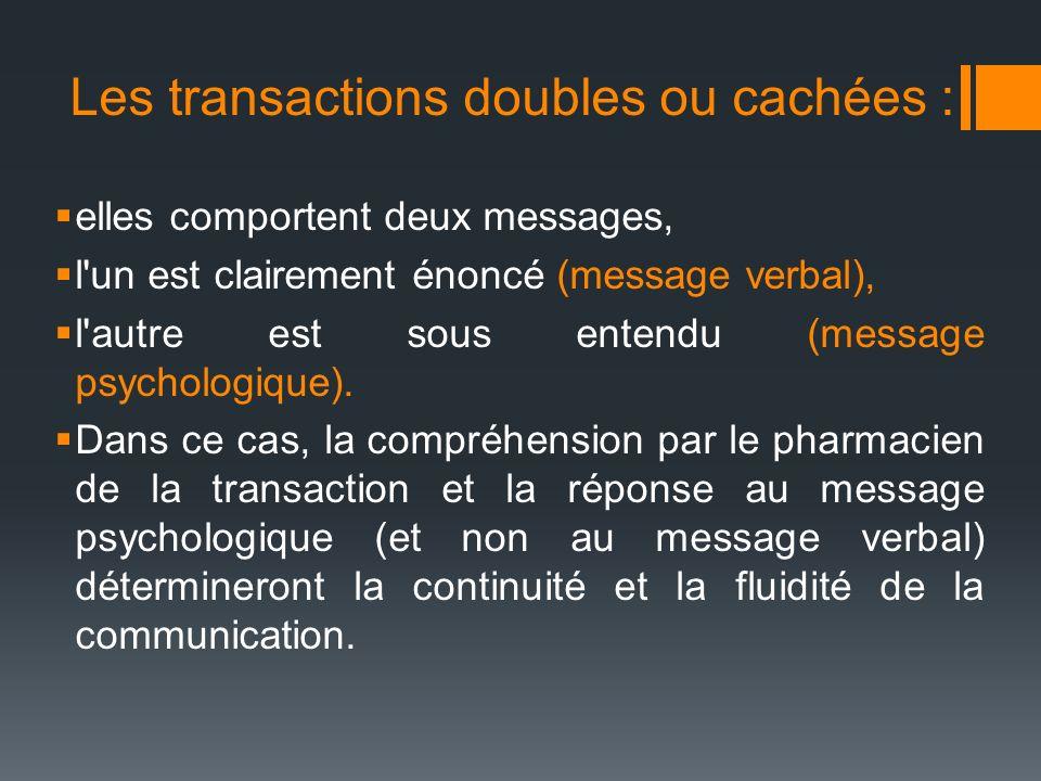 Les transactions doubles ou cachées : elles comportent deux messages, l'un est clairement énoncé (message verbal), l'autre est sous entendu (message p