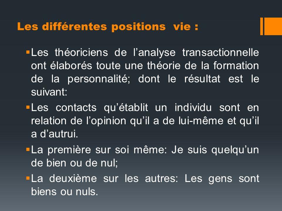 Les différentes positions vie : Les théoriciens de lanalyse transactionnelle ont élaborés toute une théorie de la formation de la personnalité; dont l