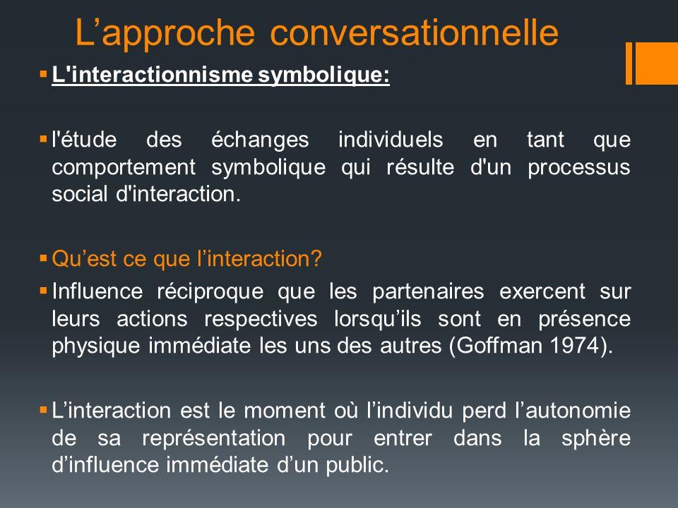 Lapproche conversationnelle L'interactionnisme symbolique: l'étude des échanges individuels en tant que comportement symbolique qui résulte d'un proce