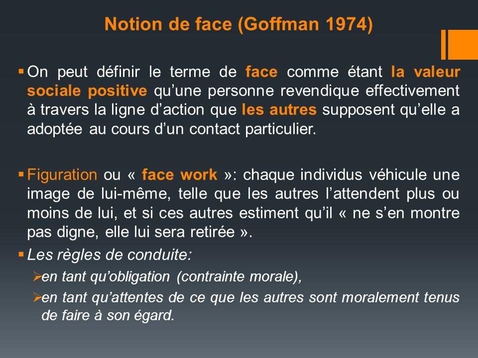 Notion de face (Goffman 1974) On peut définir le terme de face comme étant la valeur sociale positive quune personne revendique effectivement à traver