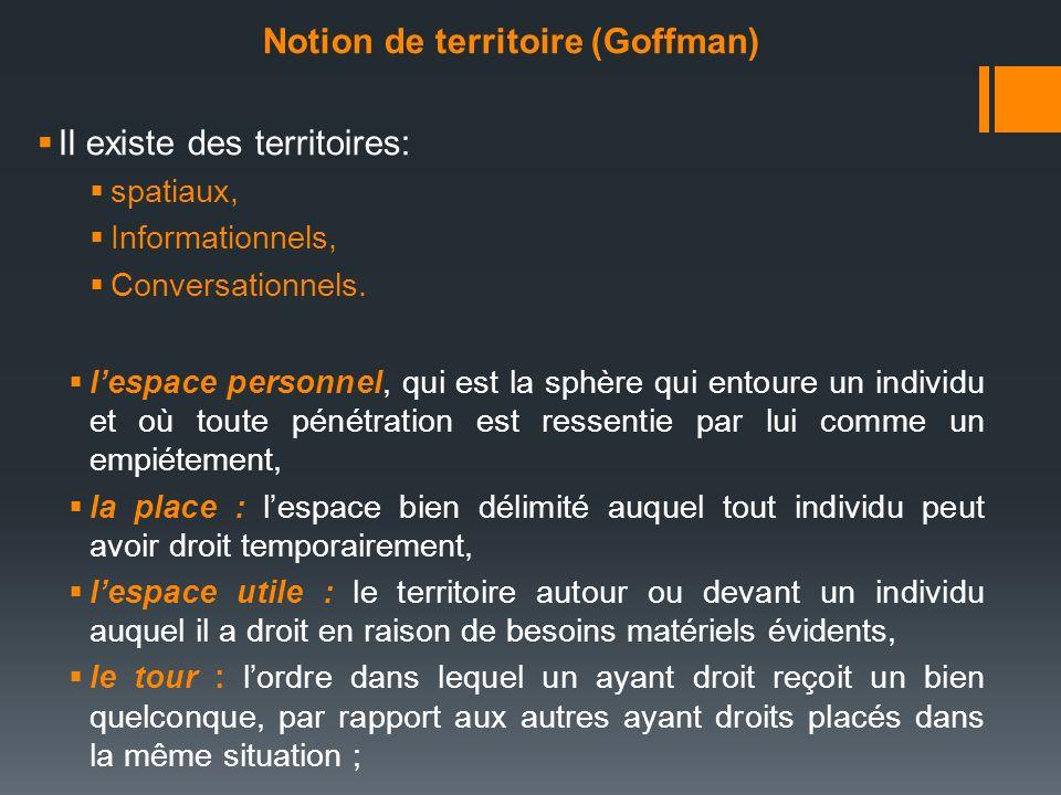 Notion de territoire (Goffman) Il existe des territoires: spatiaux, Informationnels, Conversationnels. lespace personnel, qui est la sphère qui entour