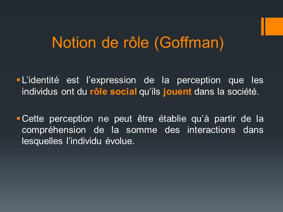 Notion de rôle (Goffman) Lidentité est lexpression de la perception que les individus ont du rôle social quils jouent dans la société. Cette perceptio