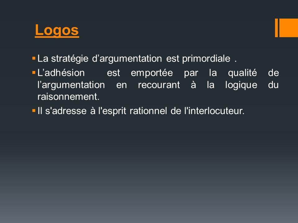 Logos La stratégie dargumentation est primordiale. Ladhésion est emportée par la qualité de largumentation en recourant à la logique du raisonnement.