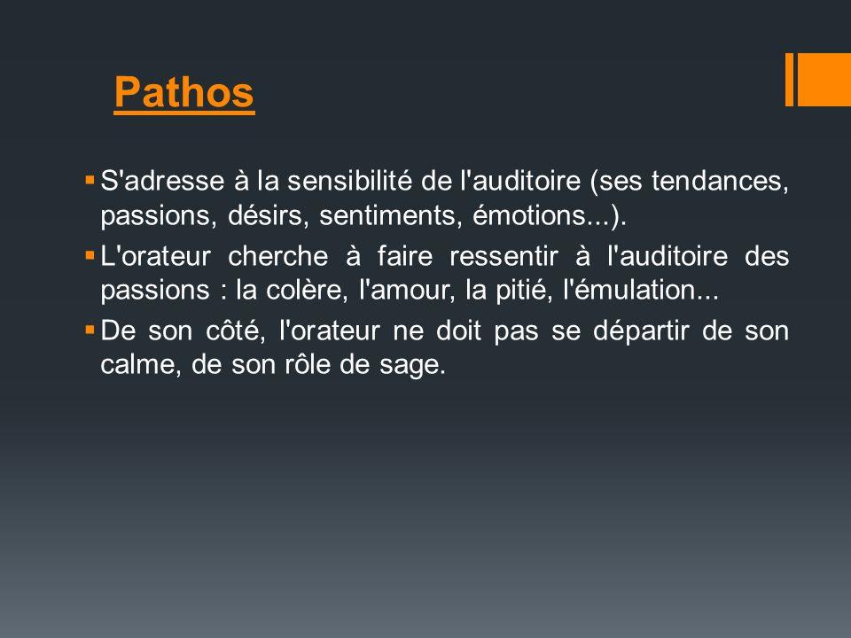 S'adresse à la sensibilité de l'auditoire (ses tendances, passions, désirs, sentiments, émotions...). L'orateur cherche à faire ressentir à l'auditoir