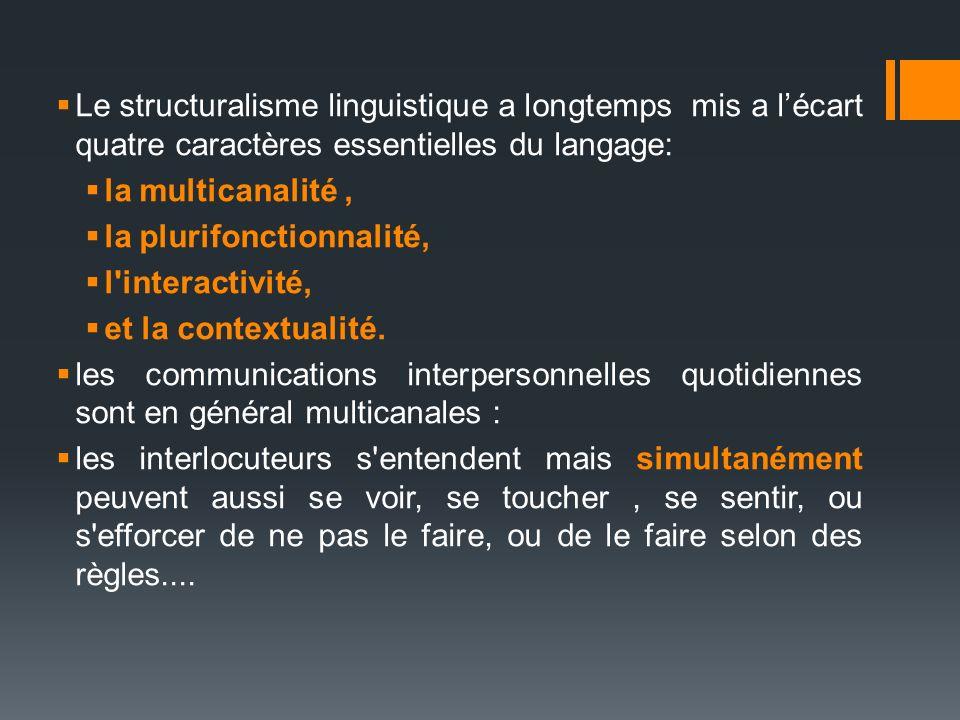 Le structuralisme linguistique a longtemps mis a lécart quatre caractères essentielles du langage: la multicanalité, la plurifonctionnalité, l'interac