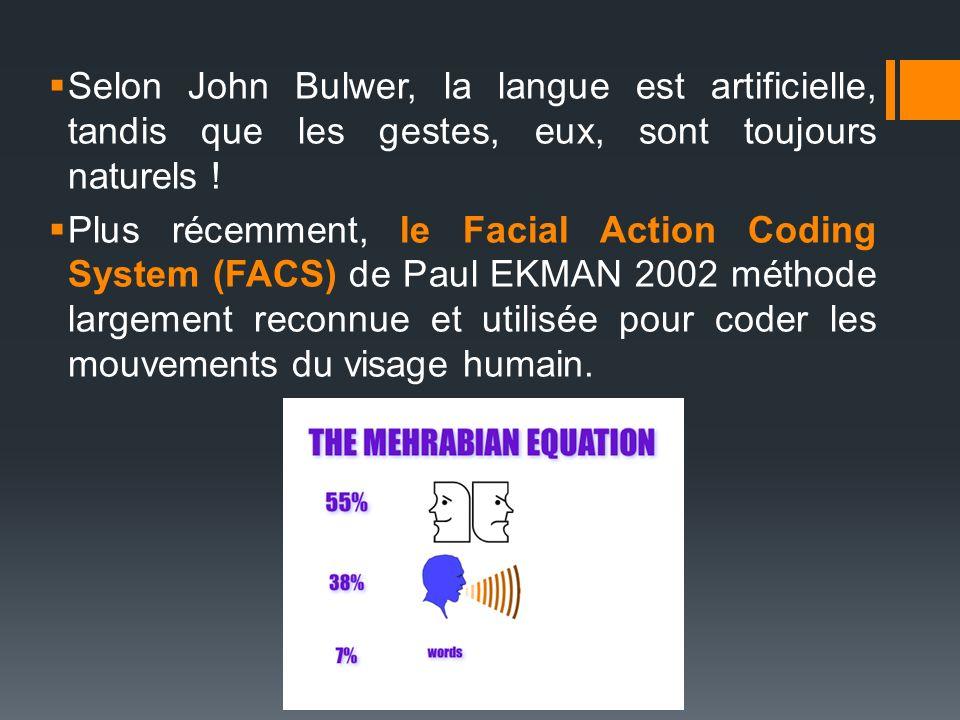 Selon John Bulwer, la langue est artificielle, tandis que les gestes, eux, sont toujours naturels ! Plus récemment, le Facial Action Coding System (FA