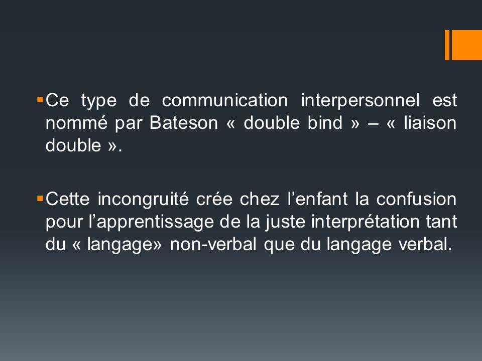 Ce type de communication interpersonnel est nommé par Bateson « double bind » – « liaison double ». Cette incongruité crée chez lenfant la confusion p