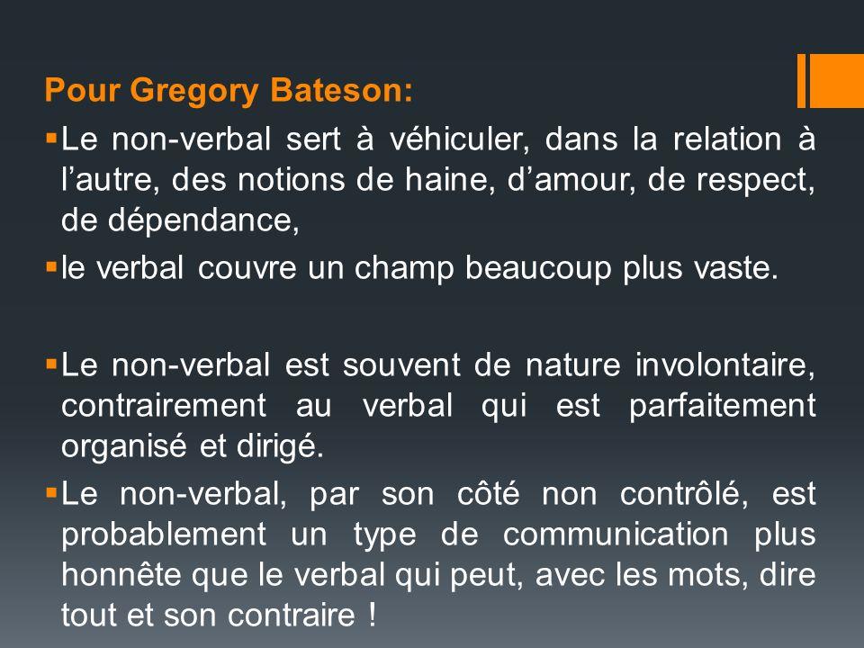 Pour Gregory Bateson: Le non-verbal sert à véhiculer, dans la relation à lautre, des notions de haine, damour, de respect, de dépendance, le verbal co