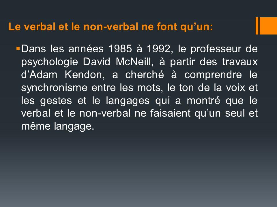 Dans les années 1985 à 1992, le professeur de psychologie David McNeill, à partir des travaux dAdam Kendon, a cherché à comprendre le synchronisme ent