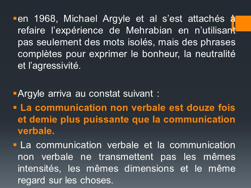 en 1968, Michael Argyle et al sest attachés à refaire lexpérience de Mehrabian en nutilisant pas seulement des mots isolés, mais des phrases complètes