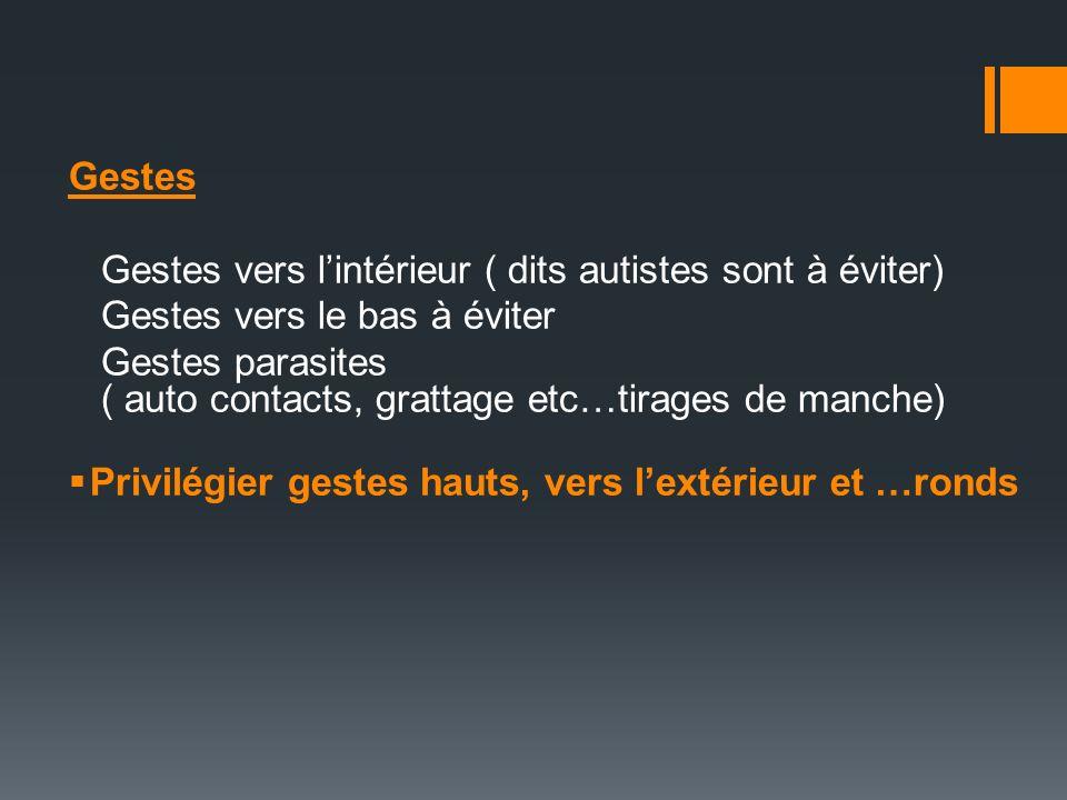 Gestes Gestes vers lintérieur ( dits autistes sont à éviter) Gestes vers le bas à éviter Gestes parasites ( auto contacts, grattage etc…tirages de man