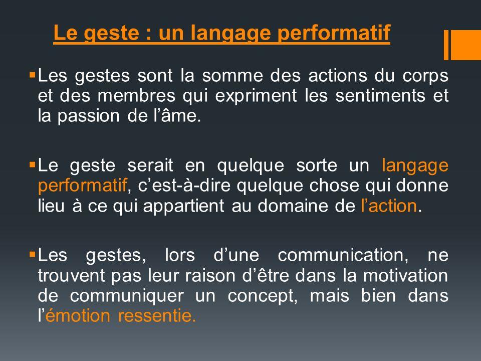 Le geste : un langage performatif Les gestes sont la somme des actions du corps et des membres qui expriment les sentiments et la passion de lâme. Le
