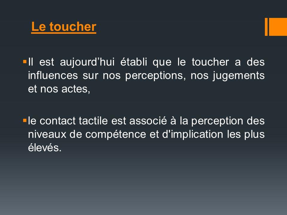 Le toucher Il est aujourdhui établi que le toucher a des influences sur nos perceptions, nos jugements et nos actes, le contact tactile est associé à