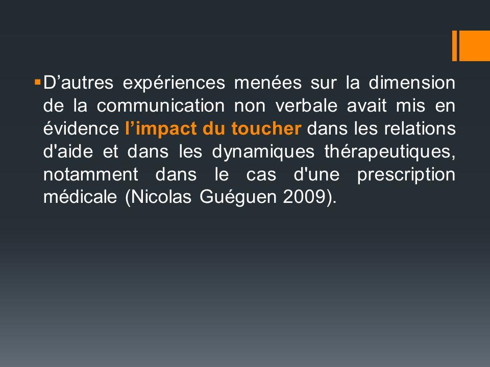 Dautres expériences menées sur la dimension de la communication non verbale avait mis en évidence limpact du toucher dans les relations d'aide et dans