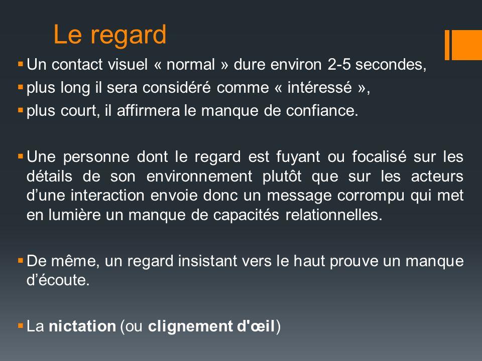 Le regard Un contact visuel « normal » dure environ 2-5 secondes, plus long il sera considéré comme « intéressé », plus court, il affirmera le manque