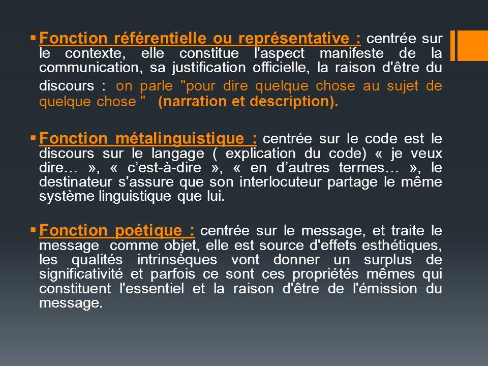 Fonction référentielle ou représentative : centrée sur le contexte, elle constitue l'aspect manifeste de la communication, sa justification officielle