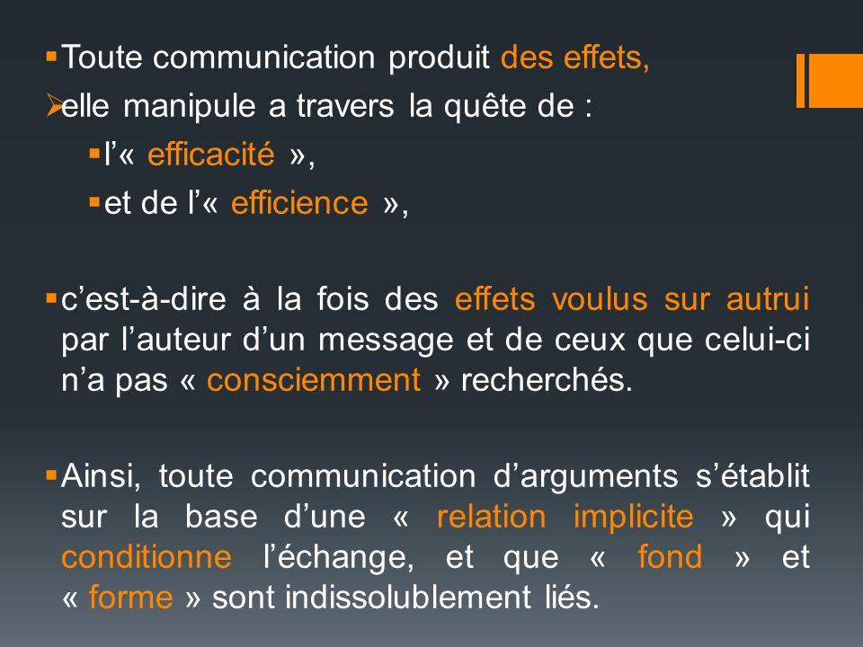 Toute communication produit des effets, elle manipule a travers la quête de : l« efficacité », et de l« efficience », cest-à-dire à la fois des effets