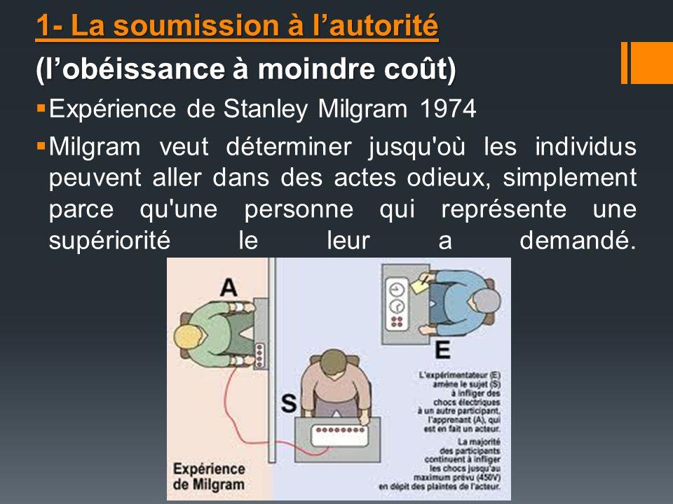 1- La soumission à lautorité (lobéissance à moindre coût) Expérience de Stanley Milgram 1974 Milgram veut déterminer jusqu'où les individus peuvent al