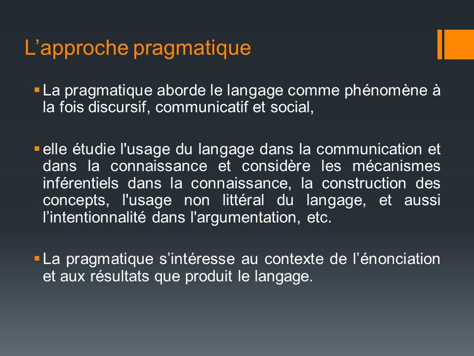 Lapproche pragmatique La pragmatique aborde le langage comme phénomène à la fois discursif, communicatif et social, elle étudie l'usage du langage dan