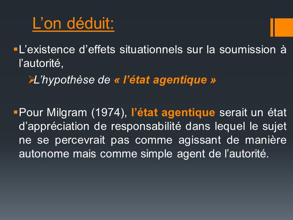 Lon déduit: Lexistence deffets situationnels sur la soumission à lautorité, Lhypothèse de « létat agentique » Pour Milgram (1974), létat agentique ser