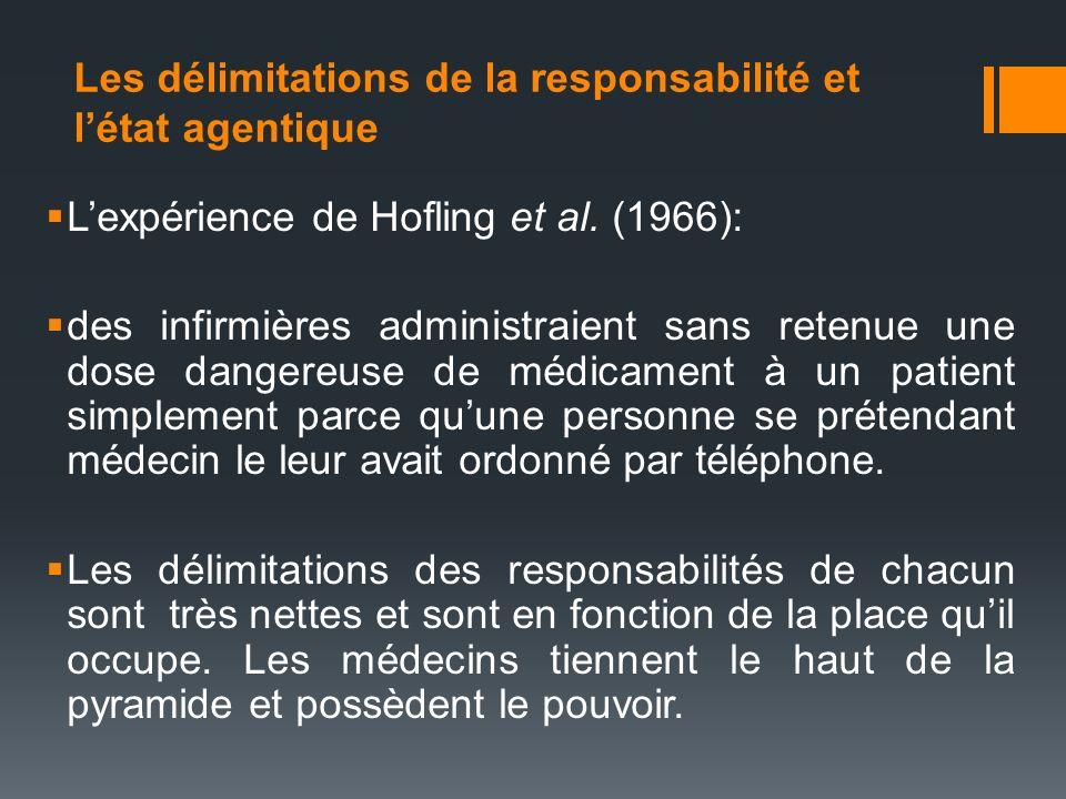 Les délimitations de la responsabilité et létat agentique Lexpérience de Hofling et al. (1966): des infirmières administraient sans retenue une dose d