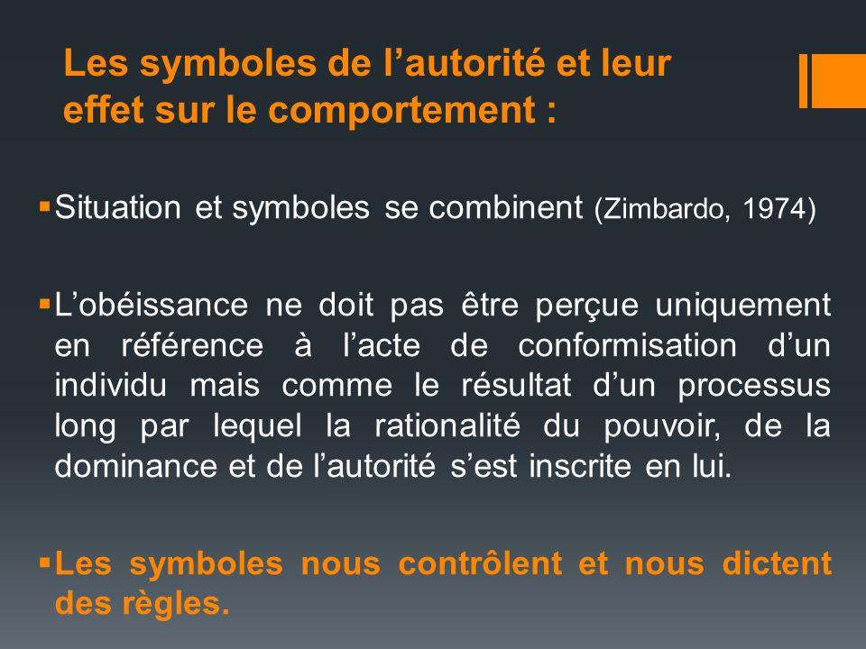 Les symboles de lautorité et leur effet sur le comportement : Situation et symboles se combinent (Zimbardo, 1974) Lobéissance ne doit pas être perçue