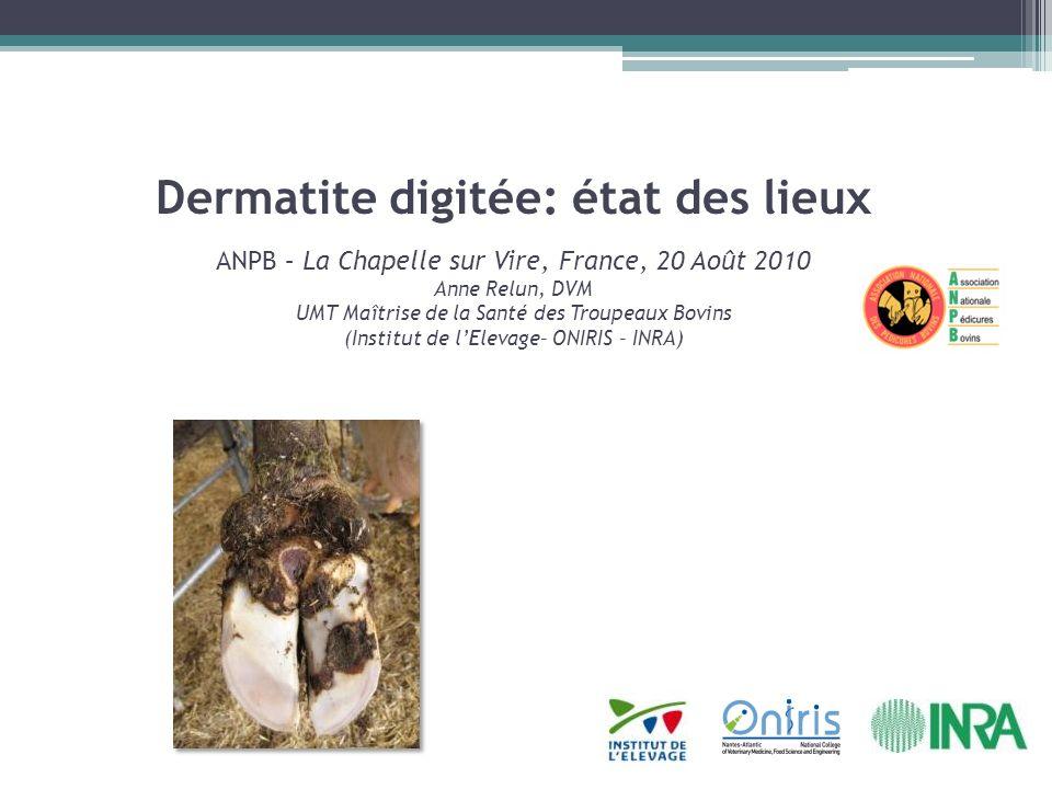 Dermatite digitée: état des lieux ANPB – La Chapelle sur Vire, France, 20 Août 2010 Anne Relun, DVM UMT Maîtrise de la Santé des Troupeaux Bovins (Ins
