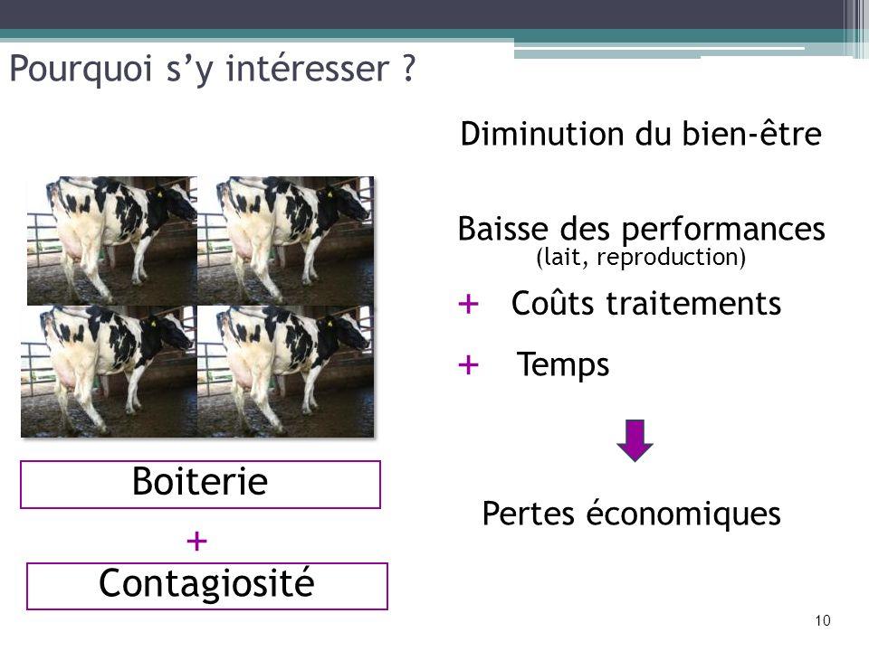 Diminution du bien-être Baisse des performances (lait, reproduction) Pertes économiques Temps + 10 + Contagiosité Pourquoi sy intéresser ? + Coûts tra