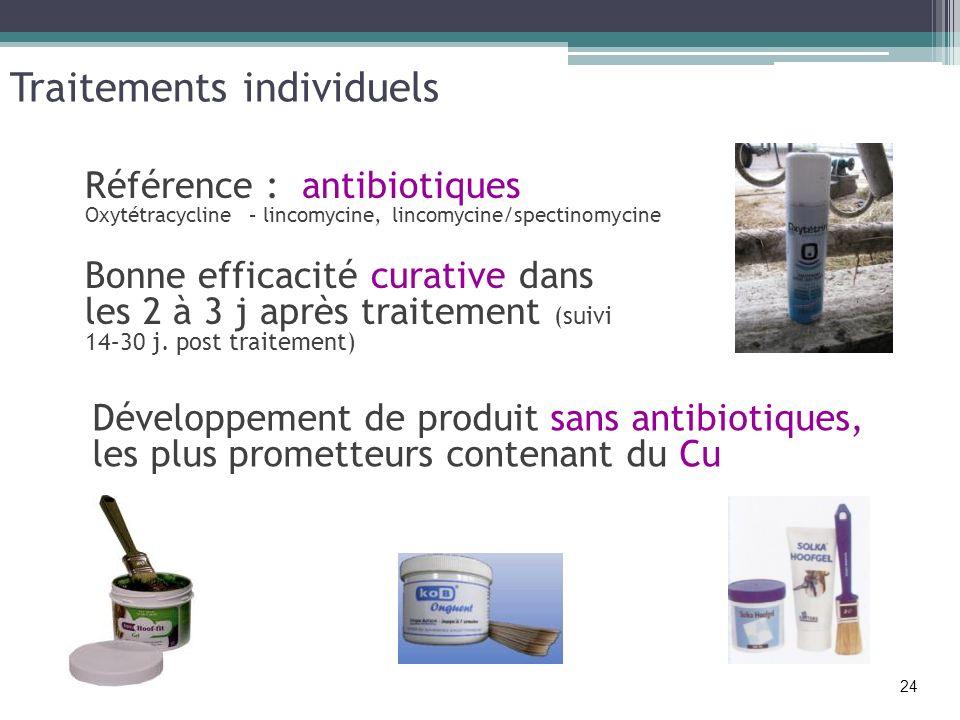 Traitements individuels Référence : antibiotiques Oxytétracycline – lincomycine, lincomycine/spectinomycine Bonne efficacité curative dans les 2 à 3 j