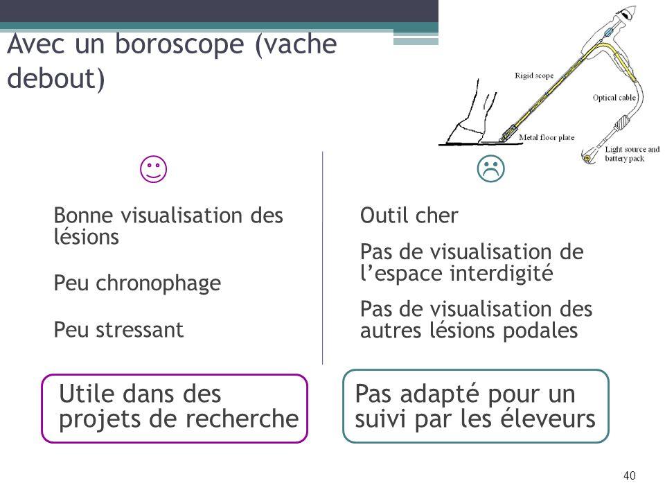 Avec un boroscope (vache debout) Bonne visualisation des lésions Peu chronophage Pas de visualisation de lespace interdigité Outil cher Utile dans des