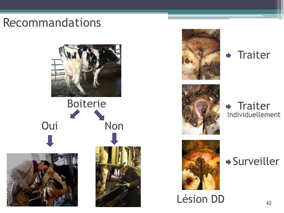 Recommandations Lésion DD Boiterie OuiNon Traiter Individuellement Surveiller 42