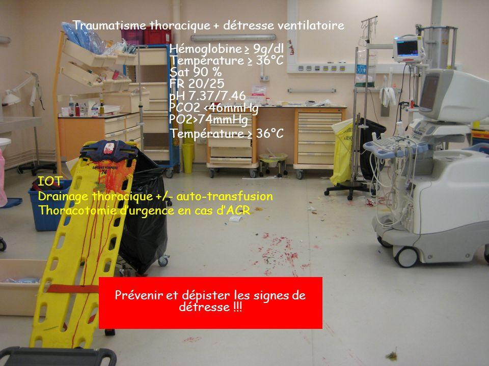 Traumatisme thoracique + détresse ventilatoire Hémoglobine 9g/dl Température 36°C Sat 90 % FR 20/25 pH 7.37/7.46 PCO2 <46mmHg PO2>74mmHg Température 36°C IOT Drainage thoracique +/- auto-transfusion Thoracotomie durgence en cas dACR Prévenir et dépister les signes de détresse !!!